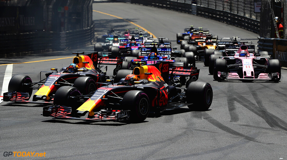 MONTE-CARLO, MONACO - MAY 28: Daniel Ricciardo of Australia driving the (3) Red Bull Racing Red Bull-TAG Heuer RB13 TAG Heuer and Max Verstappen of the Netherlands driving the (33) Red Bull Racing Red Bull-TAG Heuer RB13 TAG Heuer battle for position at the start during the Monaco Formula One Grand Prix at Circuit de Monaco on May 28, 2017 in Monte-Carlo, Monaco.  (Photo by Mark Thompson/Getty Images) // Getty Images / Red Bull Content Pool  // P-20170528-00554 // Usage for editorial use only // Please go to www.redbullcontentpool.com for further information. //  F1 Grand Prix of Monaco Mark Thompson Monte-Carlo (City) Monaco  P-20170528-00554