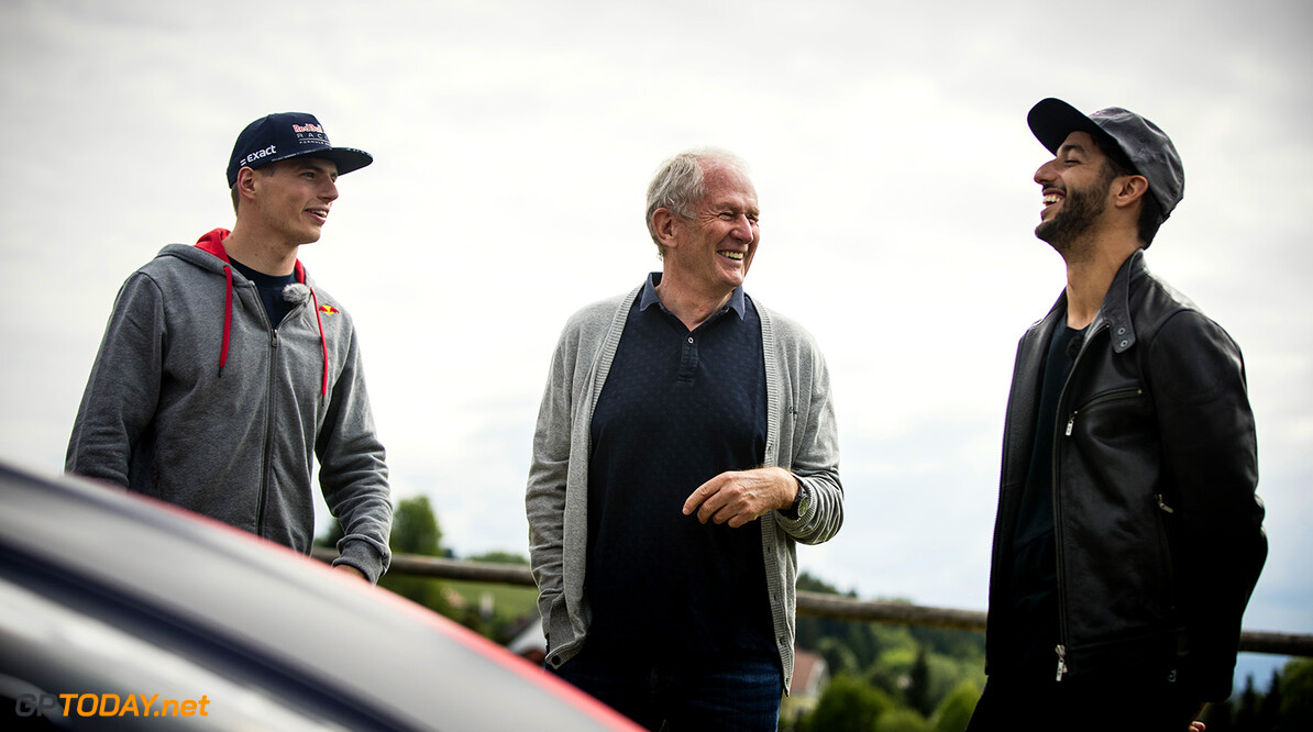 Max Verstappen, dr. Helmut Marko and Daniel Ricciardo seen in Spielberg, Austria on May 17, 2017 // Samo Vidic/Red Bull Content Pool // P-20170522-02013 // Usage for editorial use only // Please go to www.redbullcontentpool.com for further information. //  Max Verstappen, Daniel Ricciardo, Dr. Helmut Marko  Spielberg Bei Knittelfeld Austria  P-20170522-02013