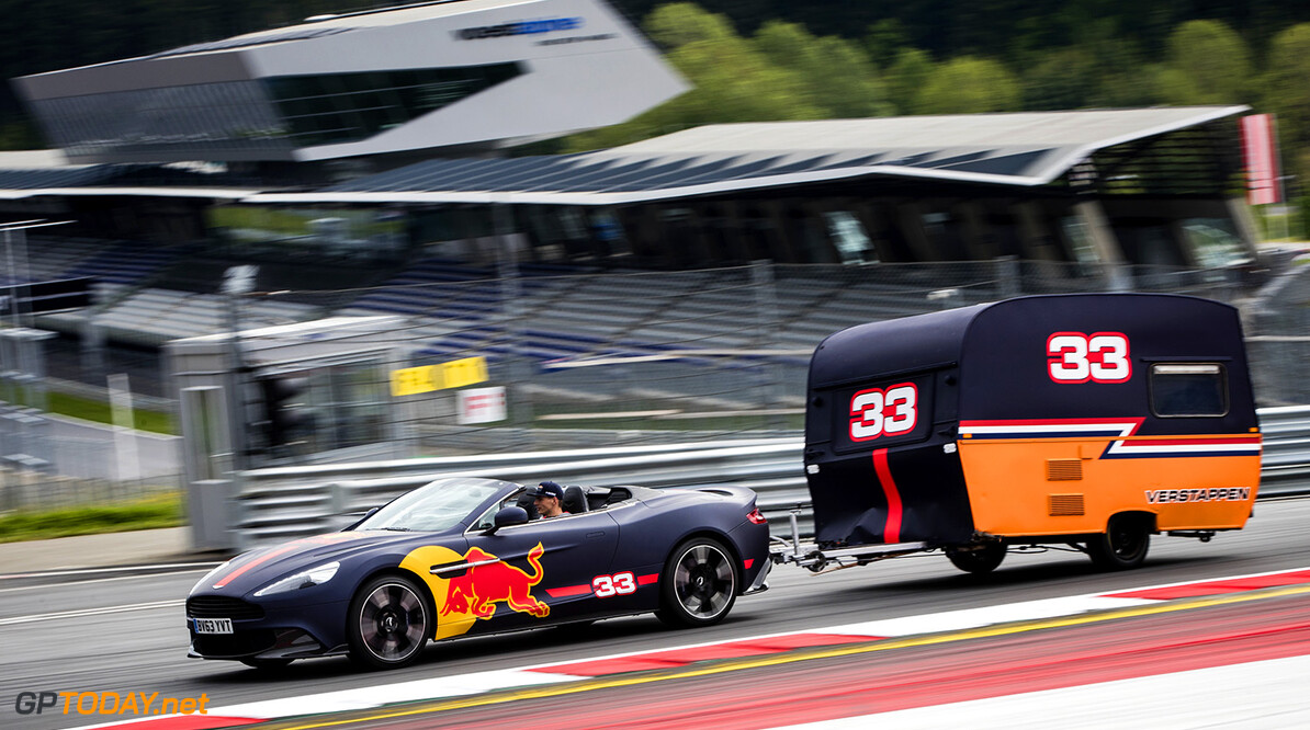 Max Verstappen competes with the caravan against Daniel Ricciardo in Spielberg, Austria on May 17, 2017 // Samo Vidic/Red Bull Content Pool // P-20170522-02005 // Usage for editorial use only // Please go to www.redbullcontentpool.com for further information. //  Max Verstappen  Spielberg Bei Knittelfeld Austria  P-20170522-02005