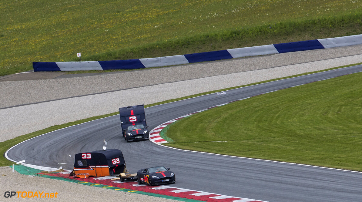 Max Verstappen and Daniel Ricciardo compete with caravans in Spielberg, Austria on May 17, 2017 // Samo Vidic/Red Bull Content Pool // P-20170522-02002 // Usage for editorial use only // Please go to www.redbullcontentpool.com for further information. //  Max Verstappen, Daniel Ricciardo  Spielberg Bei Knittelfeld Austria  P-20170522-02002