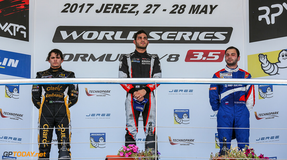 JEREZ (ESP) MAY 26-28 2017 - 4th round of the Worldseries Formula V8 3.5 at circuito de Jerez. Podium race 1. Action. (C) 2017 Klaas Norg / Dutch Photo Agency. JEREZ RACING FORMULA V8 2017     Auto Autosport Car Formula Jerez Michelin Motorsports Race Racing Renault Spain Track World Series