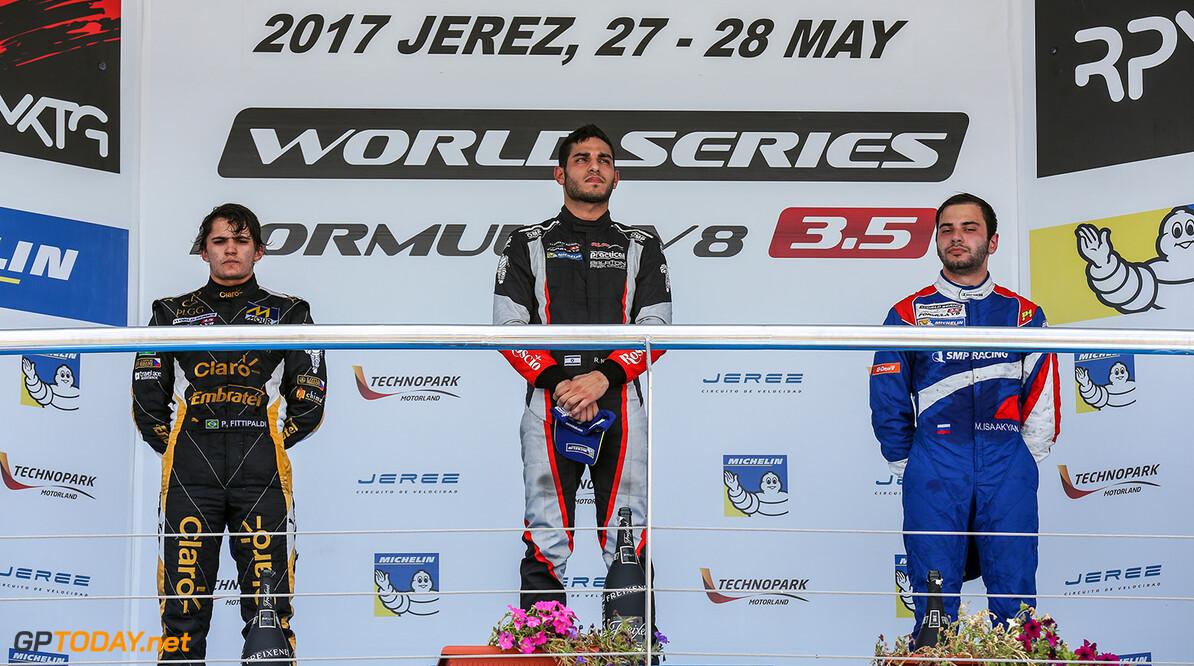 JEREZ (ESP) MAY 26-28 2017 - 4th round of the Worldseries Formula V8 3.5 at circuito de Jerez. Podium race 1. Action. (C) 2017 Klaas Norg / Dutch Photo Agency. JEREZ RACING FORMULA V8 2017     Auto Autosport Car Formula Jerez Michelin Motorsports Race Racing Renault Spain Track World Series