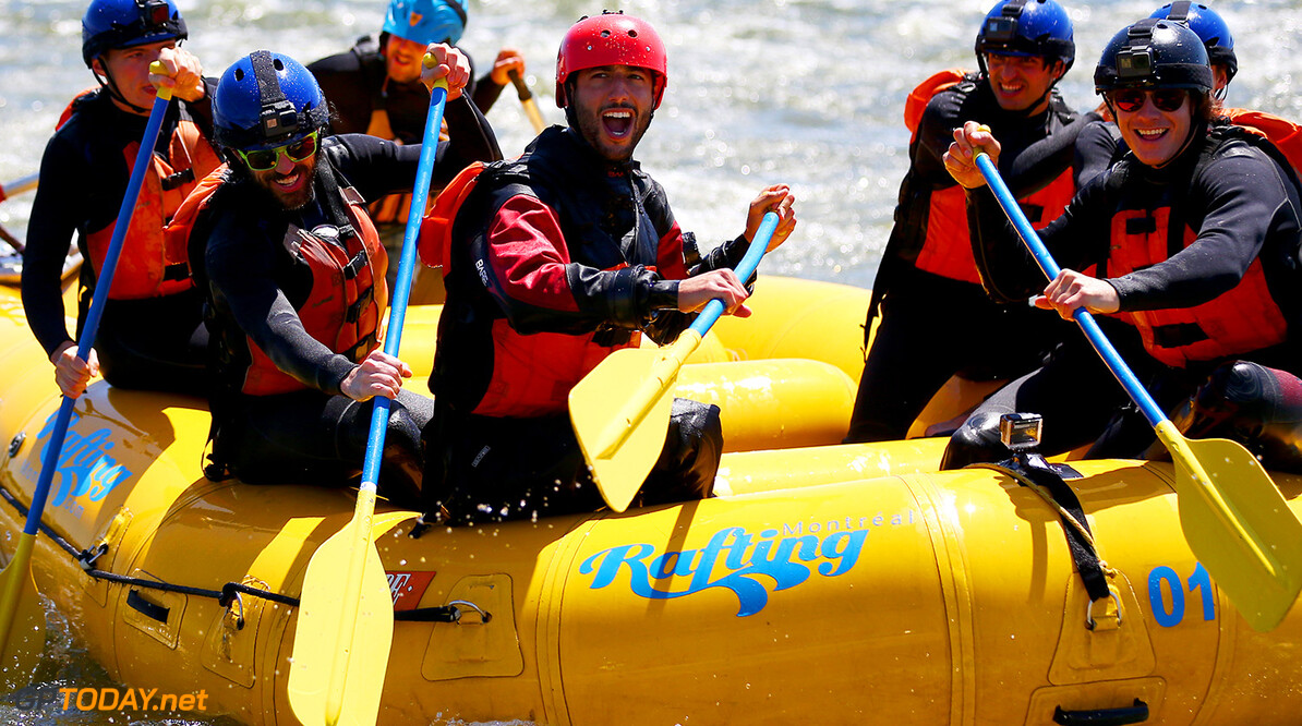 MONTREAL, QC - JUNE 07:  Charles Hamelin, Carlos Sainz of Spain and Scuderia Toro Rosso, Max Verstappen of the Netherlands and Red Bull Racing, Daniel Ricciardo of Australia and Red Bull Racing, Daniil Kvyat of Russia and Scuderia Toro Rosso and Sebastien Toutant take part in a rafting session in the Lachine Rapids on the Saint Lawrence River at Montreal Rafting during previews to the Canadian Formula One Grand Prix on June 7, 2017 in Montreal, Canada.  (Photo by Dan Istitene/Getty Images) // Getty Images / Red Bull Content Pool  // P-20170607-01111 // Usage for editorial use only // Please go to www.redbullcontentpool.com for further information. //  Canadian F1 Grand Prix - Previews Dan Istitene Montreal (City) Canada  P-20170607-01111