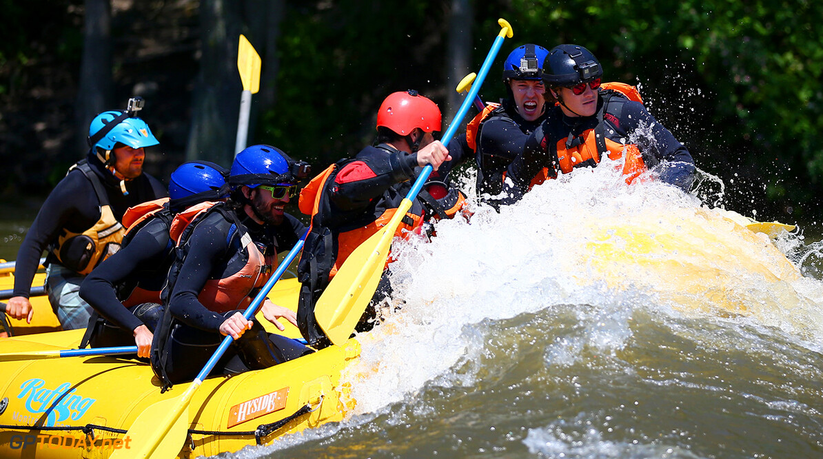 MONTREAL, QC - JUNE 07:  Charles Hamelin, Carlos Sainz of Spain and Scuderia Toro Rosso, Max Verstappen of the Netherlands and Red Bull Racing, Daniel Ricciardo of Australia and Red Bull Racing, Daniil Kvyat of Russia and Scuderia Toro Rosso and Sebastien Toutant take part in a rafting session in the Lachine Rapids on the Saint Lawrence River at Montreal Rafting during previews to the Canadian Formula One Grand Prix on June 7, 2017 in Montreal, Canada.  (Photo by Dan Istitene/Getty Images) // Getty Images / Red Bull Content Pool  // P-20170607-01278 // Usage for editorial use only // Please go to www.redbullcontentpool.com for further information. //  Canadian F1 Grand Prix - Previews Dan Istitene Montreal (City) Canada  P-20170607-01278