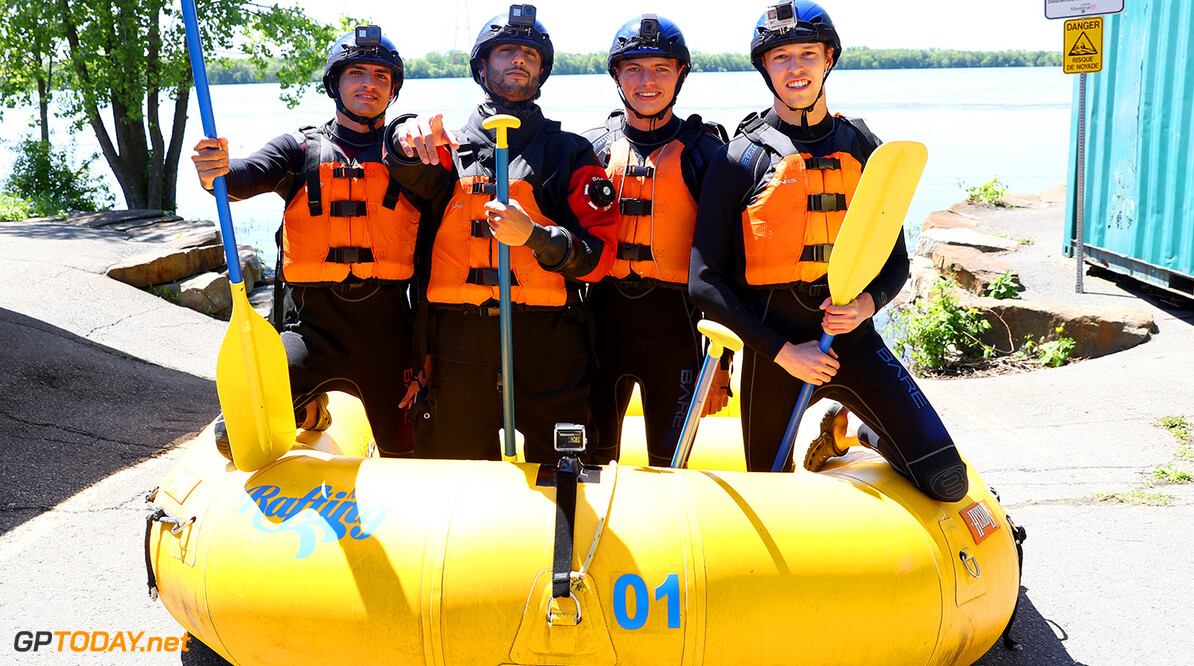 MONTREAL, QC - JUNE 07:  (L-R) Carlos Sainz of Spain and Scuderia Toro Rosso,  Daniel Ricciardo of Australia and Red Bull Racing, Max Verstappen of the Netherlands and Red Bull Racing and Daniil Kvyat of Russia and Scuderia Toro Rosso pose before taking part in a rafting session in the Lachine Rapids on the Saint Lawrence River at Montreal Rafting during previews to the Canadian Formula One Grand Prix on June 7, 2017 in Montreal, Canada.  (Photo by Mark Thompson/Getty Images) // Getty Images / Red Bull Content Pool  // P-20170607-01210 // Usage for editorial use only // Please go to www.redbullcontentpool.com for further information. //  Canadian F1 Grand Prix - Previews Mark Thompson Montreal (City) Canada  P-20170607-01210