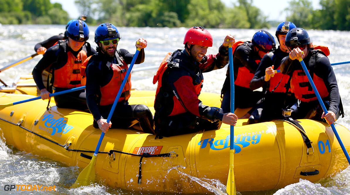 MONTREAL, QC - JUNE 07:  Charles Hamelin, Carlos Sainz of Spain and Scuderia Toro Rosso, Max Verstappen of the Netherlands and Red Bull Racing, Daniel Ricciardo of Australia and Red Bull Racing, Daniil Kvyat of Russia and Scuderia Toro Rosso and Sebastien Toutant take part in a rafting session in the Lachine Rapids on the Saint Lawrence River at Montreal Rafting during previews to the Canadian Formula One Grand Prix on June 7, 2017 in Montreal, Canada.  (Photo by Dan Istitene/Getty Images) // Getty Images / Red Bull Content Pool  // P-20170607-01287 // Usage for editorial use only // Please go to www.redbullcontentpool.com for further information. //  Canadian F1 Grand Prix - Previews Dan Istitene Montreal (City) Canada  P-20170607-01287