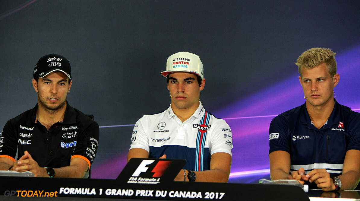 Formula One World Championship The FIA Press Conference (L to R): Sergio Perez (MEX) Sahara Force India F1; Lance Stroll (CDN) Williams; Marcus Ericsson (SWE) Sauber F1 Team. Canadian Grand Prix, Thursday 8th June 2017. Montreal, Canada. Motor Racing - Formula One World Championship - Canadian Grand Prix - Preparation Day - Montreal, Canada James Moy Photography Montreal Canada  Formula One Formula 1 F1 GP Grand Prix Canada Canadian Montreal Ille Notre Dame Circuit JM716 Sergio P?rez Sergio P?rez Mendoza Checo Perez Checo P?rez Press Conference Portrait GP1707a GP1707a_M