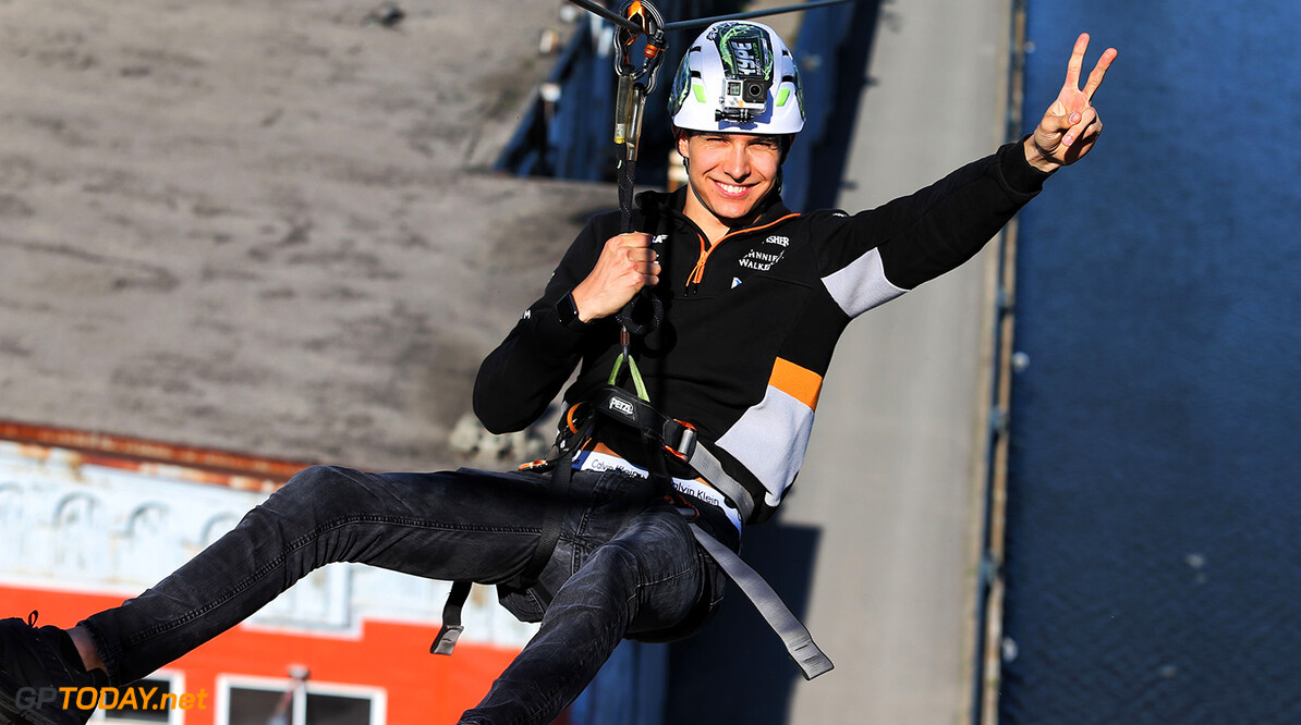 Formula One World Championship Esteban Ocon (FRA) Sahara Force India F1 Team - ziplining over the St Lawrence River - Hype Energy Drink event. Canadian Grand Prix, Wednesday 7th June 2017. Montreal, Canada. Motor Racing - Formula One World Championship - Canadian Grand Prix - Preparation Day - Montreal, Canada James Moy Photography Montreal Canada  Formula One Formula 1 F1 GP Grand Prix Canada Canadian Montreal Ille Notre Dame Circuit JM716 Portrait GP1707z_M GP1707z