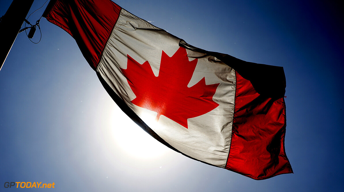 Circuit Gilles Villeneuve, Montreal, Canada. Wednesday 3 June 2015. A Canadian flag flies. World Copyright: Glenn Dunbar/LAT Photographic. ref: Digital Image DSC00460       f1 formula 1 formula one gp cdn Atmosphere preview
