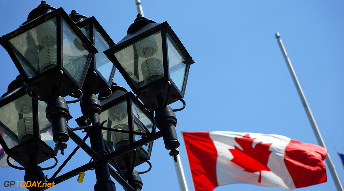 Circuit Gilles Villeneuve, Montreal, Canada. Wednesday 3 June 2015. Street lamps and a Canadian flag. World Copyright: Glenn Dunbar/LAT Photographic. ref: Digital Image DSC00476       f1 formula 1 formula one gp cdn Atmosphere preview