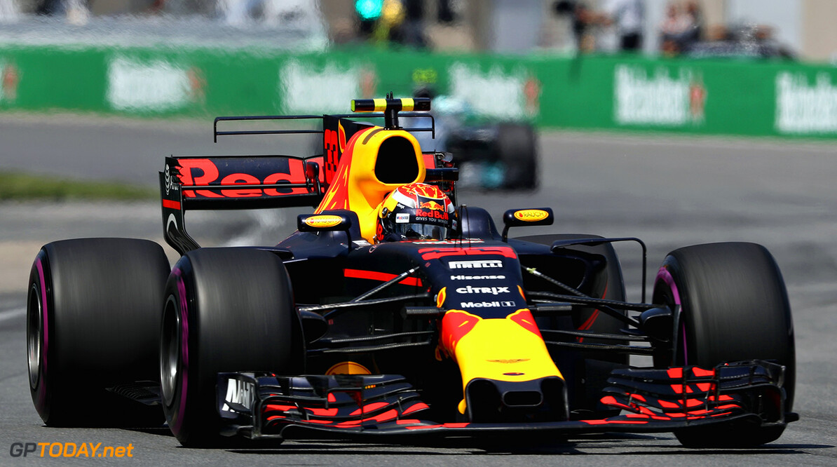 MONTREAL, QC - JUNE 11: Max Verstappen of the Netherlands driving the (33) Red Bull Racing Red Bull-TAG Heuer RB13 TAG Heuer on track during the Canadian Formula One Grand Prix at Circuit Gilles Villeneuve on June 11, 2017 in Montreal, Canada.  (Photo by Mark Thompson/Getty Images) // Getty Images / Red Bull Content Pool  // P-20170612-00241 // Usage for editorial use only // Please go to www.redbullcontentpool.com for further information. //  Canadian F1 Grand Prix Mark Thompson  Canada  P-20170612-00241