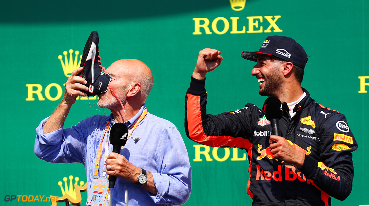 MONTREAL, QC - JUNE 11:  Daniel Ricciardo of Australia and Red Bull Racing celebrates on the podium with Patrick Stewart and a shoey after finishing third in the Canadian Formula One Grand Prix at Circuit Gilles Villeneuve on June 11, 2017 in Montreal, Canada.  (Photo by Dan Istitene/Getty Images) // Getty Images / Red Bull Content Pool  // P-20170612-00115 // Usage for editorial use only // Please go to www.redbullcontentpool.com for further information. //  Canadian F1 Grand Prix Dan Istitene  Canada  P-20170612-00115