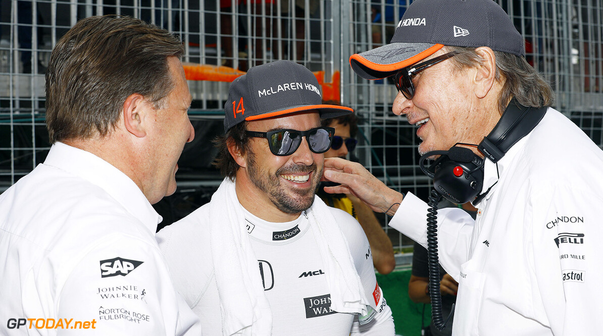 Circuit Gilles Villeneuve, Montreal, Canada. Sunday 11 June 2017. Zak Brown, Executive Director, McLaren Technology Group, Fernando Alonso, McLaren, and Mansour Ojjeh, CEO, TAG, on the grid. Photo: Steven Tee/McLaren ref: Digital Image _R3I0551  Steven Tee    f1 formula 1 formula one gp grand prix Portrait