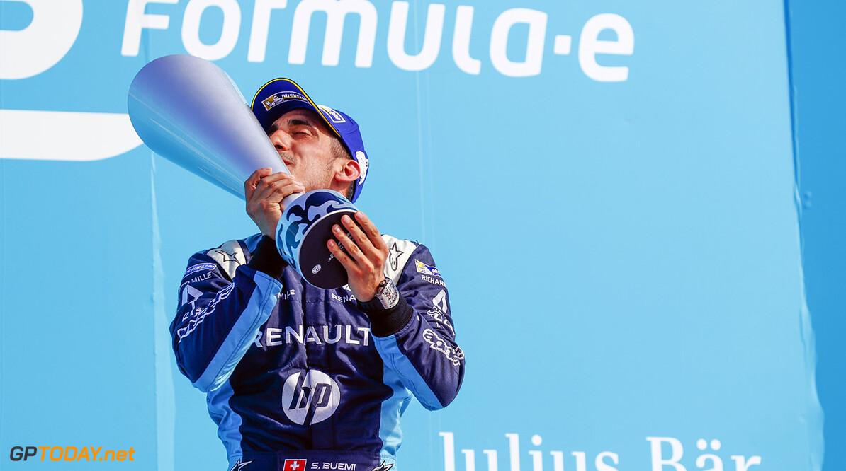 2016/2017 FIA Formula E Championship. Round 8 - Berlin ePrix, Tempelhof Airport, Berlin, Germany. Sunday 11 June 2017. Sebastien Buemi (SUI), Renault e.Dams, Spark-Renault, Renault Z.E 16, celebrates on the podium. Photo: Sam Bloxham/LAT/Formula E ref: Digital Image _J6I1419      fe formula e portrait