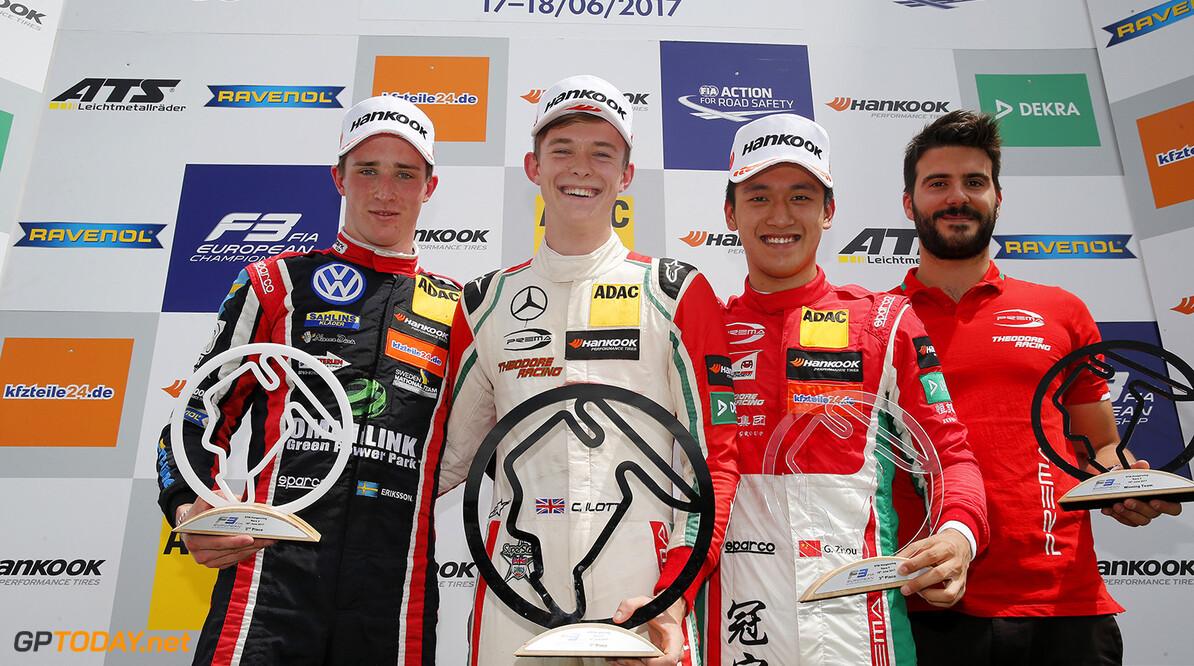 FIA Formula 3 European Championship, round 4, race 2, Hungarorin Prize giving ceremony, 1 Joel Eriksson (SWE, Motopark, Dallara F317 - Volkswagen), 53 Callum Ilott (GBR, Prema Powerteam, Dallara F317 - Mercedes-Benz), 8 Guanyu Zhou (CHN, Prema Powerteam, Dallara F317 - Mercedes-Benz), FIA Formula 3 European Championship, round 4, race 2, Hungaroring (HUN), 16. - 18. June 2017 FIA Formula 3 European Championship 2017, round 4, race 2, Hungaroring (HUN) Thomas Suer Budapest Hungary