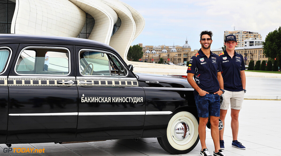 BAKU, AZERBAIJAN - JUNE 22:  Daniel Ricciardo of Australia and Red Bull Racing and Max Verstappen of Netherlands and Red Bull Racing pose for a photo at the Heydar Aliyev Centre during previews ahead of the European Formula One Grand Prix at Baku City Circuit on June 22, 2017 in Baku, Azerbaijan.  (Photo by Mark Thompson/Getty Images) // Getty Images / Red Bull Content Pool  // P-20170622-01138 // Usage for editorial use only // Please go to www.redbullcontentpool.com for further information. //  European F1 Grand Prix - Previews Mark Thompson Baku Azerbaijan  P-20170622-01138