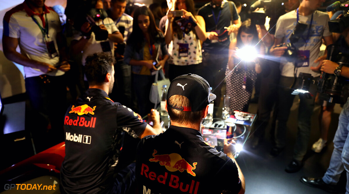 BAKU, AZERBAIJAN - JUNE 22:  Max Verstappen of Netherlands and Red Bull Racing and Daniel Ricciardo of Australia and Red Bull Racing at a media event during previews ahead of the European Formula One Grand Prix at Baku City Circuit on June 22, 2017 in Baku, Azerbaijan.  (Photo by Mark Thompson/Getty Images) // Getty Images / Red Bull Content Pool  // P-20170622-01141 // Usage for editorial use only // Please go to www.redbullcontentpool.com for further information. //  European F1 Grand Prix - Previews Mark Thompson Baku Azerbaijan  P-20170622-01141