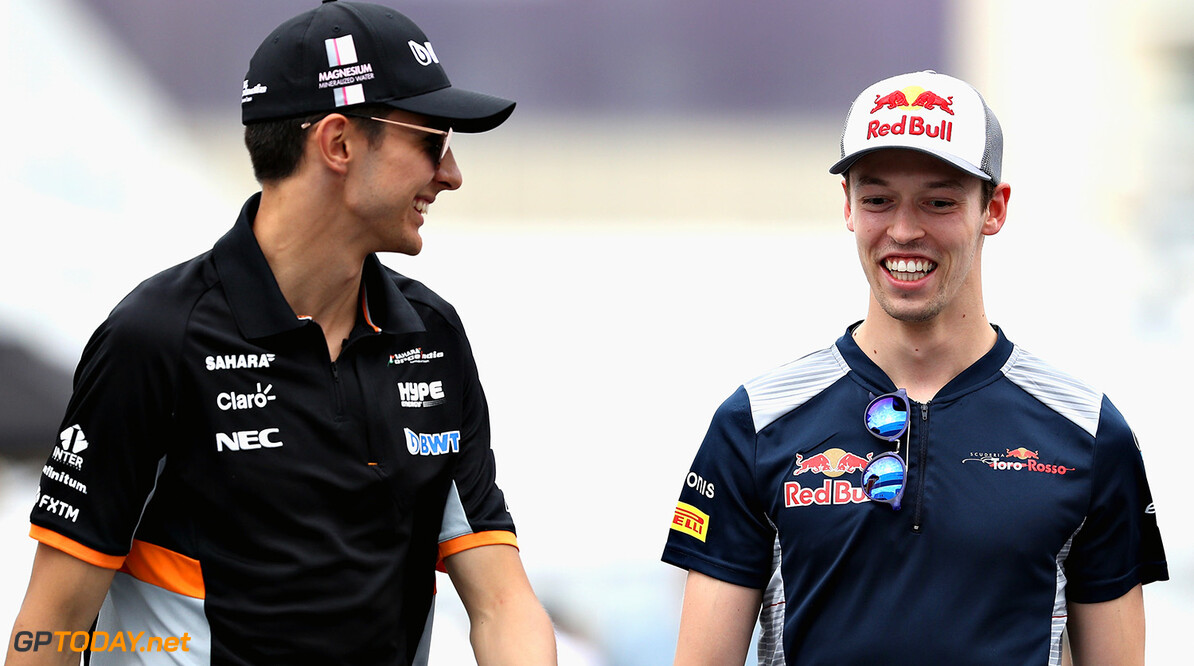 BAKU, AZERBAIJAN - JUNE 22: Daniil Kvyat of Russia and Scuderia Toro Rosso talks with Esteban Ocon of France and Force India during previews ahead of the European Formula One Grand Prix at Baku City Circuit on June 22, 2017 in Baku, Azerbaijan.  (Photo by Mark Thompson/Getty Images) // Getty Images / Red Bull Content Pool  // P-20170622-01037 // Usage for editorial use only // Please go to www.redbullcontentpool.com for further information. //  European F1 Grand Prix - Previews Mark Thompson Baku Azerbaijan  P-20170622-01037