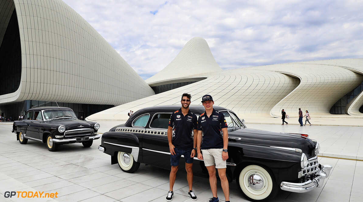 BAKU, AZERBAIJAN - JUNE 22:  Daniel Ricciardo of Australia and Red Bull Racing and Max Verstappen of Netherlands and Red Bull Racing pose for a photo at the Heydar Aliyev Centre during previews ahead of the European Formula One Grand Prix at Baku City Circuit on June 22, 2017 in Baku, Azerbaijan.  (Photo by Mark Thompson/Getty Images) // Getty Images / Red Bull Content Pool  // P-20170622-01110 // Usage for editorial use only // Please go to www.redbullcontentpool.com for further information. //  European F1 Grand Prix - Previews Mark Thompson Baku Azerbaijan  P-20170622-01110