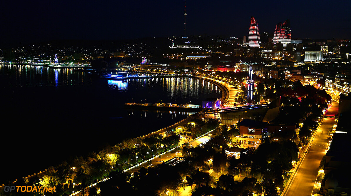 BAKU, AZERBAIJAN - JUNE 22: A general view of Baku at night during previews ahead of the European Formula One Grand Prix at Baku City Circuit on June 22, 2017 in Baku, Azerbaijan.  (Photo by Getty Images/Getty Images) Red Bull Racing Scuderia Toro Rosso // Getty Images / Red Bull Content Pool  // P-20170623-00571 // Usage for editorial use only // Please go to www.redbullcontentpool.com for further information. //  European F1 Grand Prix - Previews Getty Images Baku Azerbaijan  P-20170623-00571