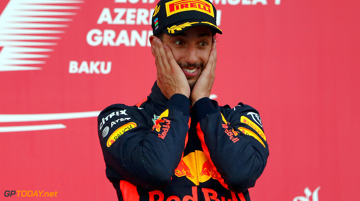 BAKU, AZERBAIJAN - JUNE 25:  Race winner Daniel Ricciardo of Australia and Red Bull Racing celebrates his win on the podium during the Azerbaijan Formula One Grand Prix at Baku City Circuit on June 25, 2017 in Baku, Azerbaijan.  (Photo by Clive Rose/Getty Images) // Getty Images / Red Bull Content Pool  // P-20170625-00881 // Usage for editorial use only // Please go to www.redbullcontentpool.com for further information. //  Azerbaijan F1 Grand Prix Clive Rose Baku Azerbaijan  P-20170625-00881