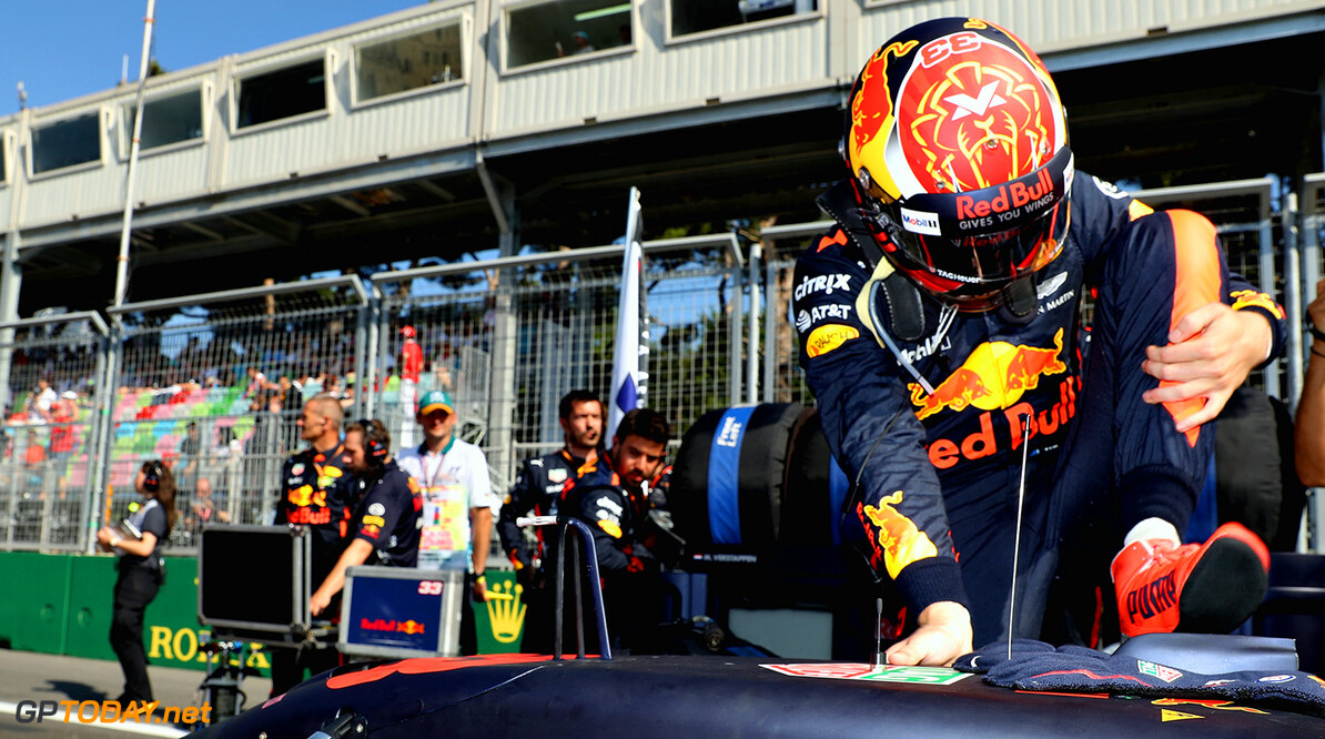 BAKU, AZERBAIJAN - JUNE 25:  Max Verstappen of Netherlands and Red Bull Racing prepares to drive on the grid before the Azerbaijan Formula One Grand Prix at Baku City Circuit on June 25, 2017 in Baku, Azerbaijan.  (Photo by Mark Thompson/Getty Images) // Getty Images / Red Bull Content Pool  // P-20170625-00711 // Usage for editorial use only // Please go to www.redbullcontentpool.com for further information. //  Azerbaijan F1 Grand Prix Mark Thompson Baku Azerbaijan  P-20170625-00711