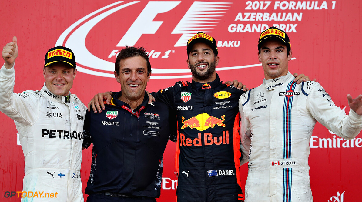 BAKU, AZERBAIJAN - JUNE 25:  Top three finishers, Daniel Ricciardo of Australia and Red Bull Racing, Valtteri Bottas of Finland and Mercedes GP and Lance Stroll of Canada and Williams with Pierre Wache, Chief Engineer of Performance Engineering at Red Bull Racing on the podium during the Azerbaijan Formula One Grand Prix at Baku City Circuit on June 25, 2017 in Baku, Azerbaijan.  (Photo by Mark Thompson/Getty Images) // Getty Images / Red Bull Content Pool  // P-20170625-01048 // Usage for editorial use only // Please go to www.redbullcontentpool.com for further information. //  Azerbaijan F1 Grand Prix Mark Thompson Baku Azerbaijan  P-20170625-01048