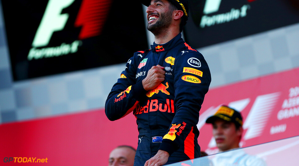 BAKU, AZERBAIJAN - JUNE 25:  Daniel Ricciardo of Australia and Red Bull Racing celebrates on the podium after winning the Azerbaijan Formula One Grand Prix at Baku City Circuit on June 25, 2017 in Baku, Azerbaijan.  (Photo by Dan Istitene/Getty Images) // Getty Images / Red Bull Content Pool  // P-20170625-00905 // Usage for editorial use only // Please go to www.redbullcontentpool.com for further information. //  Azerbaijan F1 Grand Prix Dan Istitene Baku Azerbaijan  P-20170625-00905