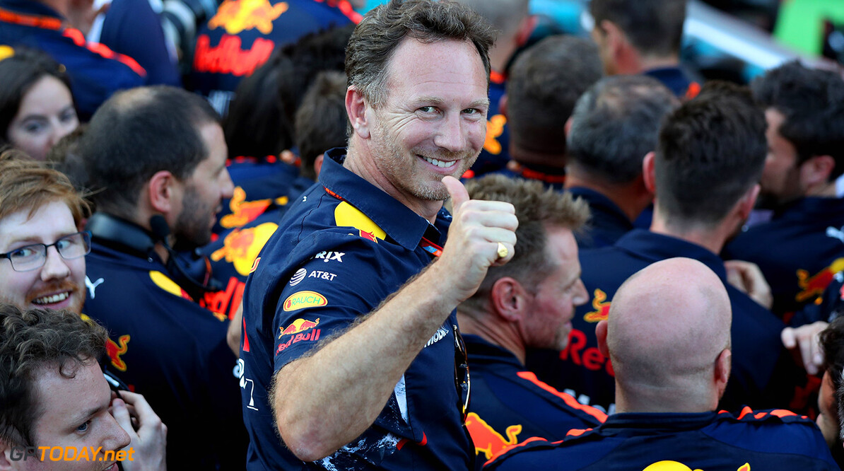BAKU, AZERBAIJAN - JUNE 25: Red Bull Racing Team Principal Christian Horner celebrates the victory of Daniel Ricciardo of Australia and Red Bull Racing in parc ferme during the Azerbaijan Formula One Grand Prix at Baku City Circuit on June 25, 2017 in Baku, Azerbaijan.  (Photo by Mark Thompson/Getty Images) // Getty Images / Red Bull Content Pool  // P-20170625-01057 // Usage for editorial use only // Please go to www.redbullcontentpool.com for further information. //  Azerbaijan F1 Grand Prix Mark Thompson Baku Azerbaijan  P-20170625-01057