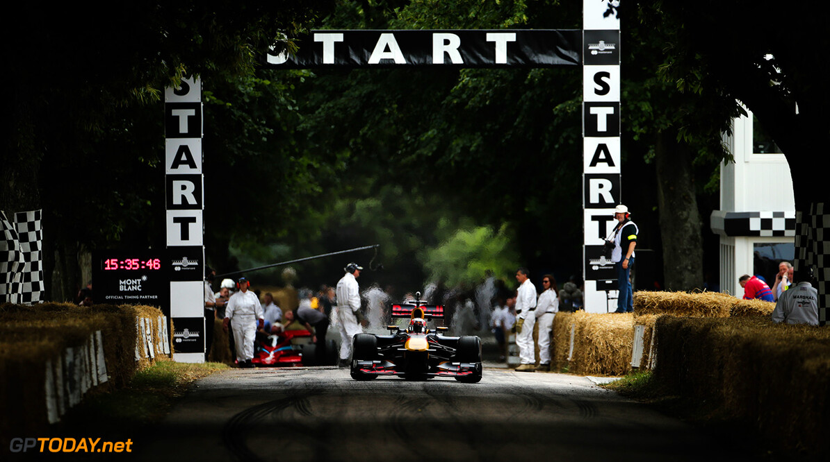 CHICHESTER, ENGLAND - JULY 01:  Pierre Gasly of France and Red Bull Racing performs a run up the hill during the Goodwood Festival of Speed at Goodwood on July 1, 2017 in Chichester, England.  (Photo by James Bearne/Getty Images) // Getty Images / Red Bull Content Pool  // P-20170701-01312 // Usage for editorial use only // Please go to www.redbullcontentpool.com for further information. //  Goodwood Festival of Speed  Goodwood House United Kingdom  P-20170701-01312