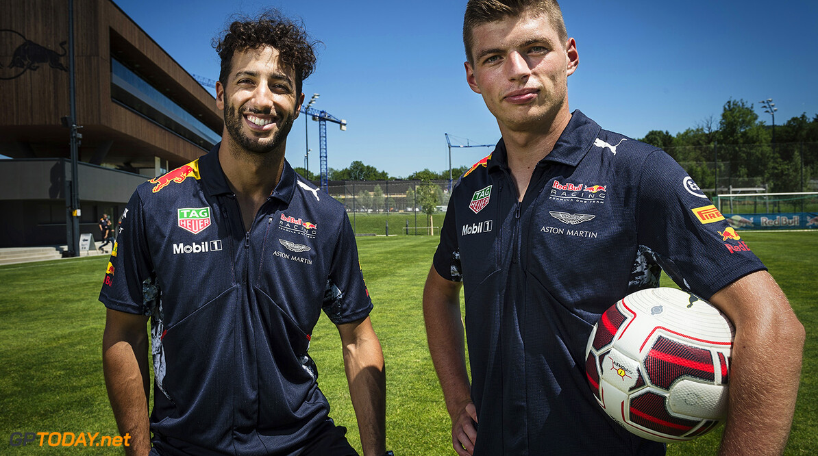 Daniel Ricciardo and Max Verstappen seen during a photo shoot at Red Bull Puck Off, in Salzburg, Austria on July 5th, 2017. // Markus Berger / Red Bull Content Pool // P-20170705-01018 // Usage for editorial use only // Please go to www.redbullcontentpool.com for further information. //  Daniel Ricciardo, Max Verstappen Markus Berger Salzburg Austria  P-20170705-01018