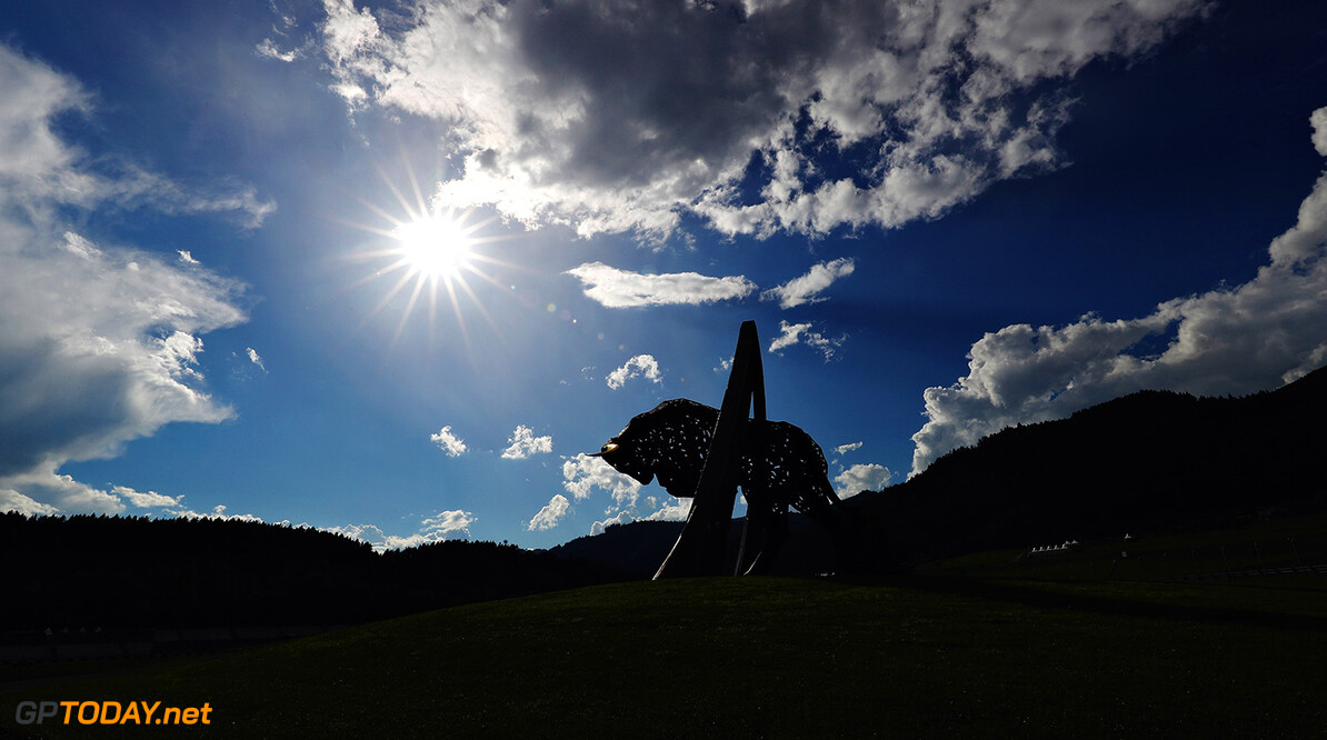 SPIELBERG, AUSTRIA - JULY 06:  A general view of the Red Bull statue during previews ahead of the home race of Red Bull Racing and Formula One Grand Prix of Austria at Red Bull Ring on July 6, 2017 in Spielberg, Austria.  (Photo by Clive Mason/Getty Images) // Getty Images / Red Bull Content Pool  // P-20170706-02716 // Usage for editorial use only // Please go to www.redbullcontentpool.com for further information. //  F1 Grand Prix of Austria - Previews Clive Mason Red Bull Ring Austria  P-20170706-02716