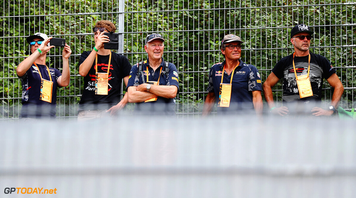 SPIELBERG, AUSTRIA - JULY 07: Red Bull Racing fans watch the action during practice for the Formula One Grand Prix of Austria at Red Bull Ring on July 7, 2017 in Spielberg, Austria.  (Photo by Mark Thompson/Getty Images) // Getty Images / Red Bull Content Pool  // P-20170707-03773 // Usage for editorial use only // Please go to www.redbullcontentpool.com for further information. //  F1 Grand Prix of Austria - Practice Mark Thompson Red Bull Ring Austria  P-20170707-03773