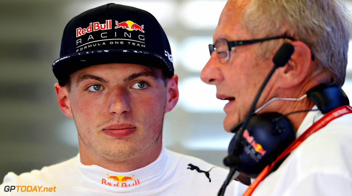 SPIELBERG, AUSTRIA - JULY 07:  Max Verstappen of Netherlands and Red Bull Racing talks with Red Bull Racing Team Consultant Dr Helmut Marko in the garage during practice for the Formula One Grand Prix of Austria at Red Bull Ring on July 7, 2017 in Spielberg, Austria.  (Photo by Mark Thompson/Getty Images) // Getty Images / Red Bull Content Pool  // P-20170707-03493 // Usage for editorial use only // Please go to www.redbullcontentpool.com for further information. //  F1 Grand Prix of Austria - Practice Mark Thompson Red Bull Ring Austria  P-20170707-03493