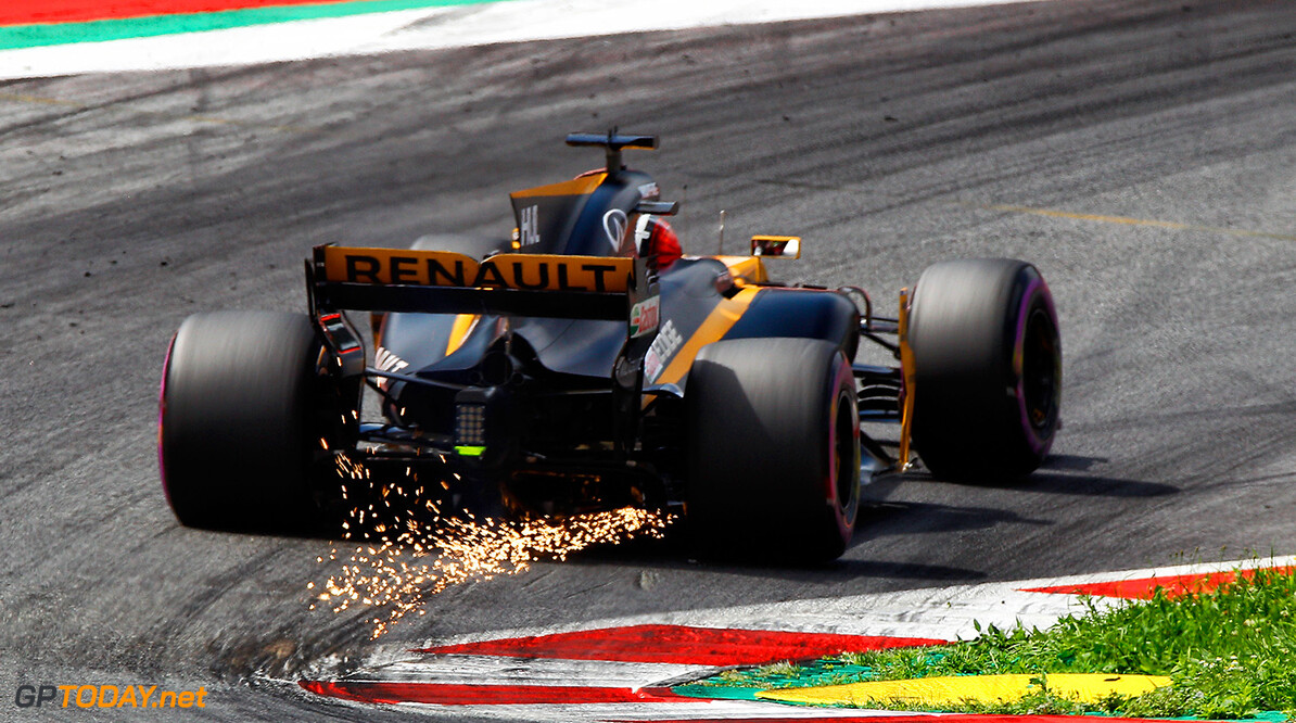 Formula One World Championship Nico Hulkenberg (GER) Renault Sport F1 Team RS17 sends sparks flying. Austrian Grand Prix, Saturday 8th July 2017. Spielberg, Austria. Motor Racing - Formula One World Championship - Austrian Grand Prix - Qualifying Day - Spielberg, Austria Renault Sport Formula One Team Spielberg Austria  Formula One Formula 1 F1 GP Grand Prix Circuit Austria Austrian Spielberg Zeltweg JM730 Hulkenberg H?lkenberg Huelkenberg Action Track GP1709c