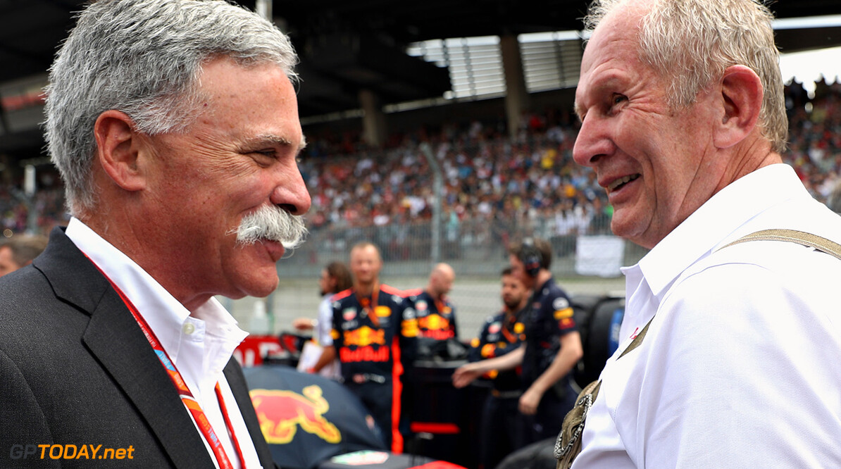 SPIELBERG, AUSTRIA - JULY 09:  Chase Carey, CEO and Executive Chairman of the Formula One Group talks with Red Bull Racing Team Consultant Dr Helmut Marko on the grid before the Formula One Grand Prix of Austria at Red Bull Ring on July 9, 2017 in Spielberg, Austria.  (Photo by Mark Thompson/Getty Images) // Getty Images / Red Bull Content Pool  // P-20170709-01927 // Usage for editorial use only // Please go to www.redbullcontentpool.com for further information. //  F1 Grand Prix of Austria Mark Thompson Red Bull Ring Austria  P-20170709-01927