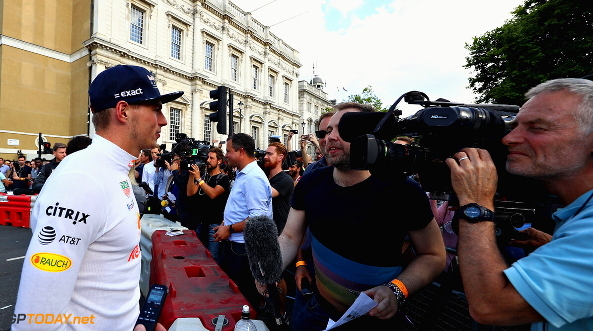 LONDON, ENGLAND - JULY 12: Max Verstappen of Netherlands and Red Bull Racing talks to the media before he drives during F1 Live London at Trafalgar Square on July 12, 2017 in London, England.  F1 Live London, the first time in Formula 1 history that all 10 teams come together outside of a race weekend to put on a show for the public in the heart of London.  (Photo by Clive Mason/Getty Images for Formula 1) // Getty Images / Red Bull Content Pool  // P-20170712-01170 // Usage for editorial use only // Please go to www.redbullcontentpool.com for further information. //  F1 Live In London Takes Over Trafalgar Square - Car Parade Clive Mason London United Kingdom  P-20170712-01170