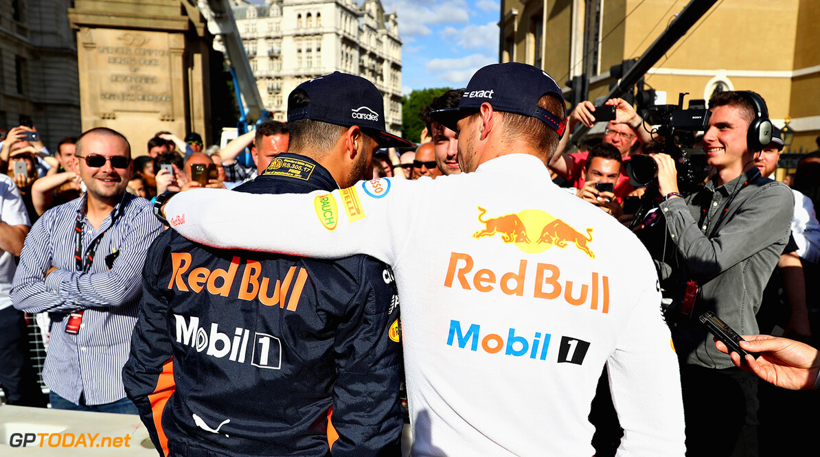 LONDON, ENGLAND - JULY 12:  Daniel Ricciardo of Australia and Red Bull Racing and Max Verstappen of Netherlands and Red Bull Racing talk to the media  during F1 Live London at Trafalgar Square on July 12, 2017 in London, England.  F1 Live London, the first time in Formula 1 history that all 10 teams come together outside of a race weekend to put on a show for the public in the heart of London.  (Photo by Clive Mason/Getty Images for Formula 1) // Getty Images / Red Bull Content Pool  // P-20170713-00479 // Usage for editorial use only // Please go to www.redbullcontentpool.com for further information. //  F1 Live In London Takes Over Trafalgar Square - Car Parade Clive Mason London United Kingdom  P-20170713-00479