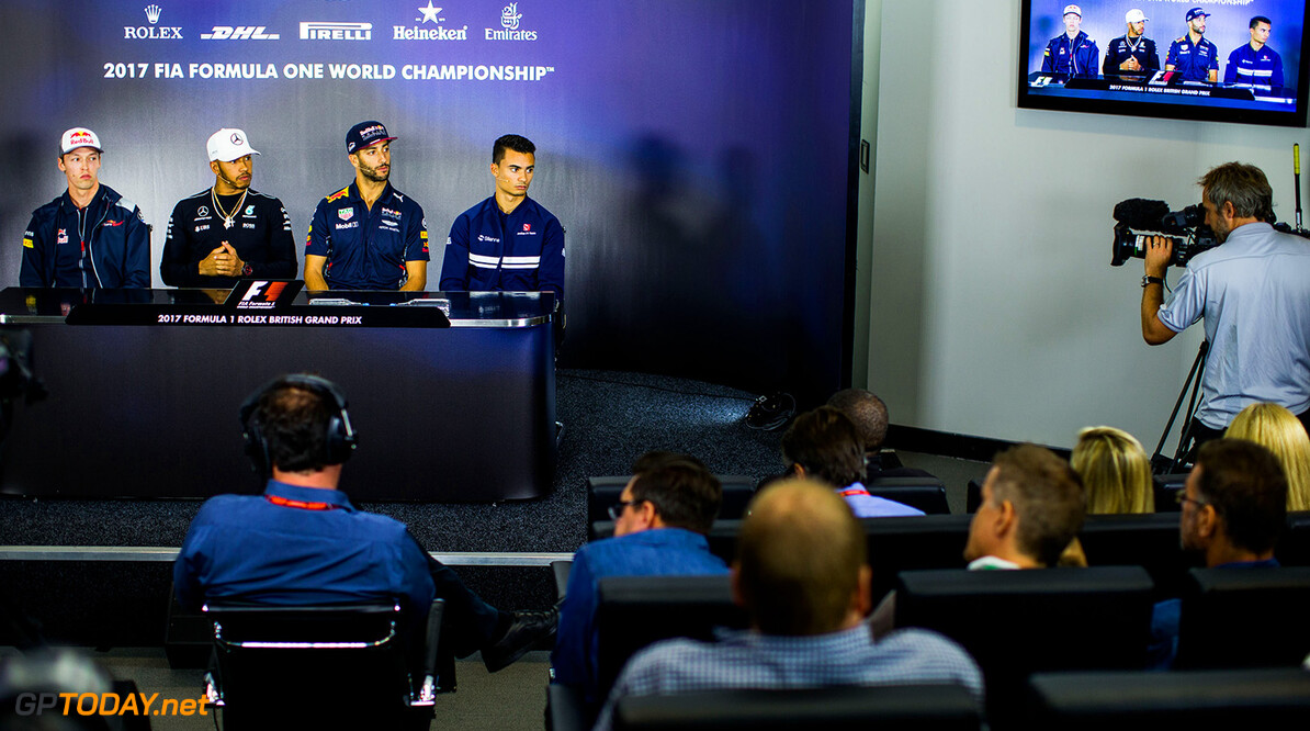 NORTHAMPTON, ENGLAND - JULY 13:  Daniil Kvyat of Scuderia Toro Rosso and Russia, Lewis Hamilton of Mercedes and Great Britain, Daniel Ricciardo of Australia and Red Bull Racing, Pascal Wehrlein of Sauber and Germany during previews ahead of the Formula One Grand Prix of Great Britain at Silverstone on July 13, 2017 in Northampton, England.  (Photo by Peter Fox/Getty Images) // Getty Images / Red Bull Content Pool  // P-20170713-01266 // Usage for editorial use only // Please go to www.redbullcontentpool.com for further information. //  F1 Grand Prix of Great Britain - Previews Peter Fox Silverstone United Kingdom  P-20170713-01266