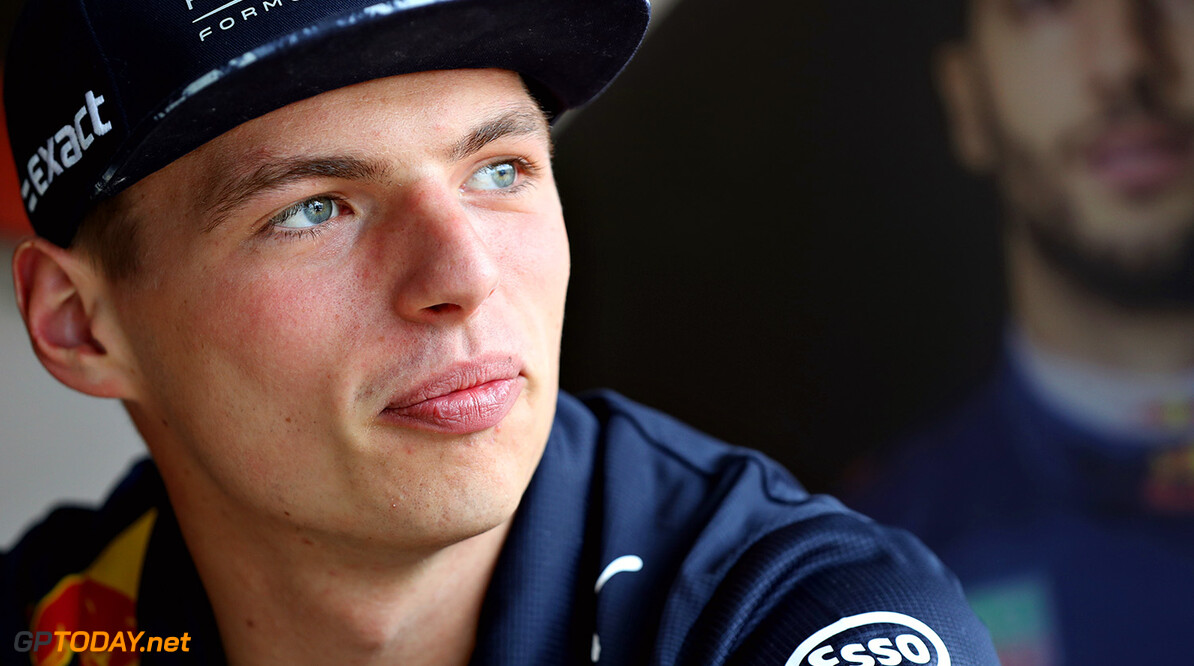 NORTHAMPTON, ENGLAND - JULY 13:  Max Verstappen of Netherlands and Red Bull Racing talks during previews ahead of the Formula One Grand Prix of Great Britain at Silverstone on July 13, 2017 in Northampton, England.  (Photo by Mark Thompson/Getty Images) // Getty Images / Red Bull Content Pool  // P-20170713-01137 // Usage for editorial use only // Please go to www.redbullcontentpool.com for further information. //  F1 Grand Prix of Great Britain - Previews Mark Thompson Silverstone United Kingdom  P-20170713-01137