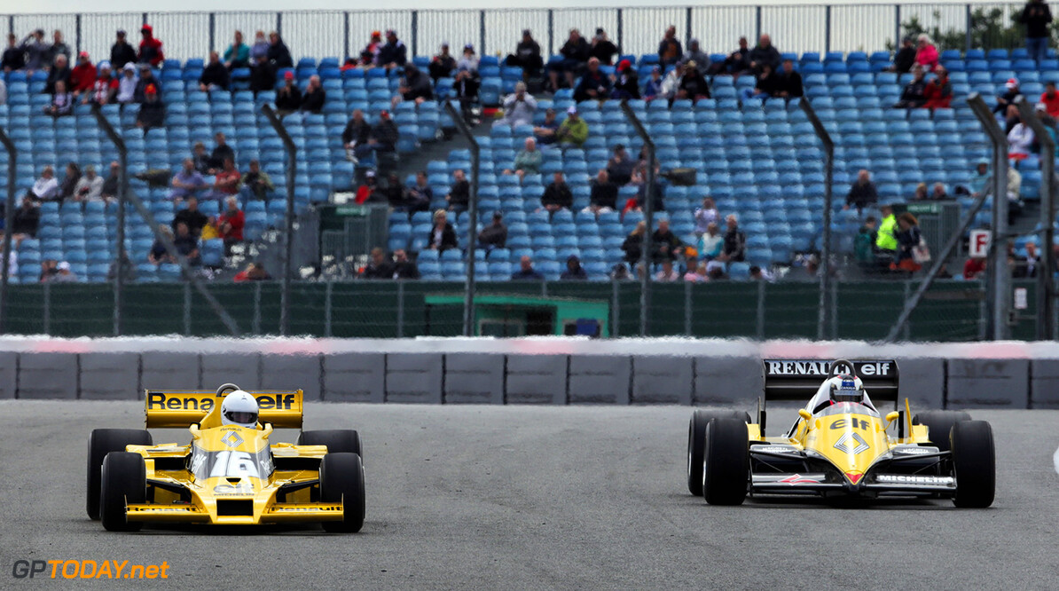 Formula One World Championship (L to R): Rene Arnoux (FRA) in the Renault RS01 and Frank Montangy (FRA) in the Renault RS40.  British Grand Prix, Friday 14th July 2017. Silverstone, England. Motor Racing - Formula One World Championship - British Grand Prix - Practice Day - Silverstone, England Renault Sport Formula One Team Silverstone England  Formula One Formula 1 F1 GP Grand Prix Circuit Britain British England UK United Kingdom Silverstone JM734 Action Track GP1710b