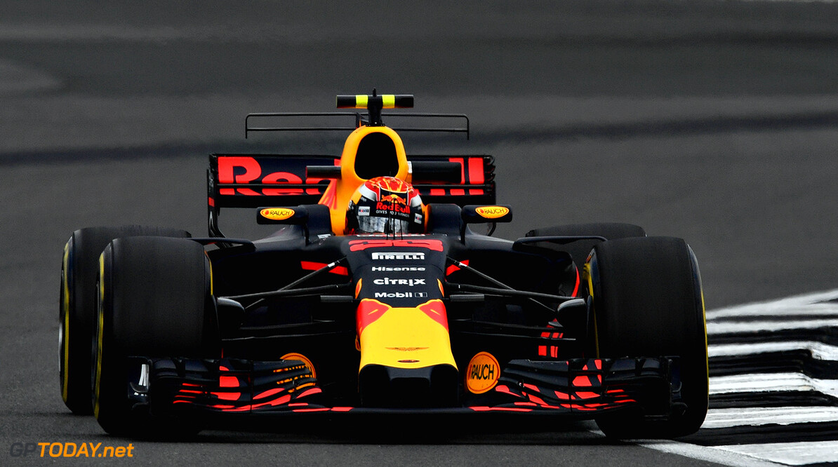 NORTHAMPTON, ENGLAND - JULY 14: Max Verstappen of the Netherlands driving the (33) Red Bull Racing Red Bull-TAG Heuer RB13 TAG Heuer on track during practice for the Formula One Grand Prix of Great Britain at Silverstone on July 14, 2017 in Northampton, England.  (Photo by Dan Mullan/Getty Images) // Getty Images / Red Bull Content Pool  // P-20170714-01413 // Usage for editorial use only // Please go to www.redbullcontentpool.com for further information. //  F1 Grand Prix of Great Britain - Practice Dan Mullan Silverstone United Kingdom  P-20170714-01413