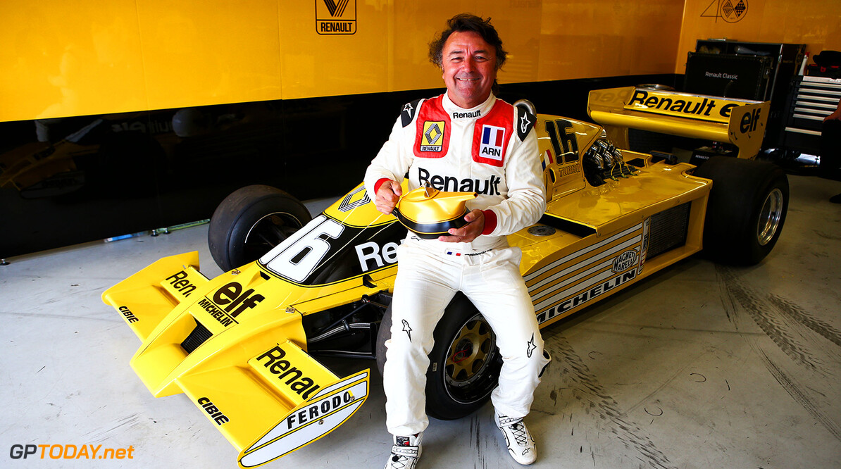 Formula One World Championship Rene Arnoux (FRA) with the Renault RS01 - known as the 'yellow teapot'. British Grand Prix, Friday 14th July 2017. Silverstone, England. Motor Racing - Formula One World Championship - British Grand Prix - Practice Day - Silverstone, England Renault Sport Formula One Team Silverstone England  Formula One Formula 1 F1 GP Grand Prix Circuit Britain British England UK United Kingdom Silverstone JM734 Portrait GP1710b