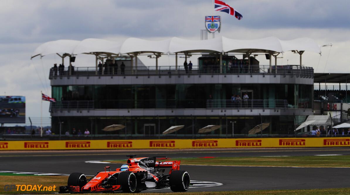 Silverstone, Northamptonshire, UK. Friday 14 July 2017. Fernando Alonso, McLaren MCL32 Honda. Photo: Zak Mauger/McLaren ref: Digital Image _54I4182  Zak Mauger    f1 formula 1 formula one gp grand prix Action