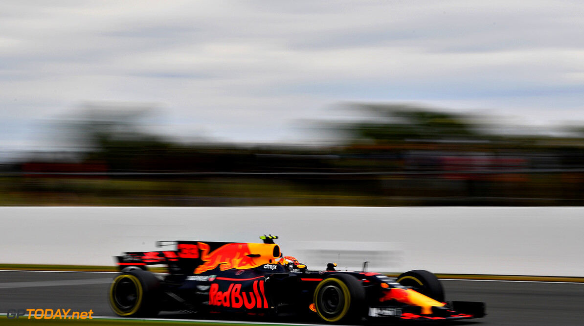 NORTHAMPTON, ENGLAND - JULY 14: Max Verstappen of the Netherlands driving the (33) Red Bull Racing Red Bull-TAG Heuer RB13 TAG Heuer on track during practice for the Formula One Grand Prix of Great Britain at Silverstone on July 14, 2017 in Northampton, England.  (Photo by Dan Mullan/Getty Images) // Getty Images / Red Bull Content Pool  // P-20170714-01419 // Usage for editorial use only // Please go to www.redbullcontentpool.com for further information. //  F1 Grand Prix of Great Britain - Practice Dan Mullan Silverstone United Kingdom  P-20170714-01419