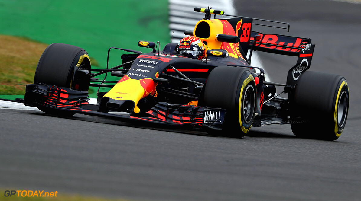 NORTHAMPTON, ENGLAND - JULY 14: Max Verstappen of the Netherlands driving the (33) Red Bull Racing Red Bull-TAG Heuer RB13 TAG Heuer on track during practice for the Formula One Grand Prix of Great Britain at Silverstone on July 14, 2017 in Northampton, England.  (Photo by Mark Thompson/Getty Images) // Getty Images / Red Bull Content Pool  // P-20170714-01644 // Usage for editorial use only // Please go to www.redbullcontentpool.com for further information. //  F1 Grand Prix of Great Britain - Practice Mark Thompson Silverstone United Kingdom  P-20170714-01644