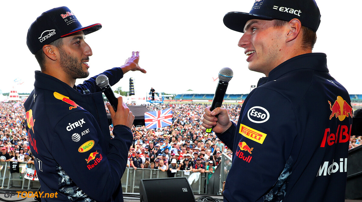 NORTHAMPTON, ENGLAND - JULY 16:  Daniel Ricciardo of Australia and Red Bull Racing and Max Verstappen of Netherlands and Red Bull Racing talk on the fans stage after the Formula One Grand Prix of Great Britain at Silverstone on July 16, 2017 in Northampton, England.  (Photo by Mark Thompson/Getty Images) // Getty Images / Red Bull Content Pool  // P-20170716-01464 // Usage for editorial use only // Please go to www.redbullcontentpool.com for further information. //  F1 Grand Prix of Great Britain  Silverstone United Kingdom  P-20170716-01464