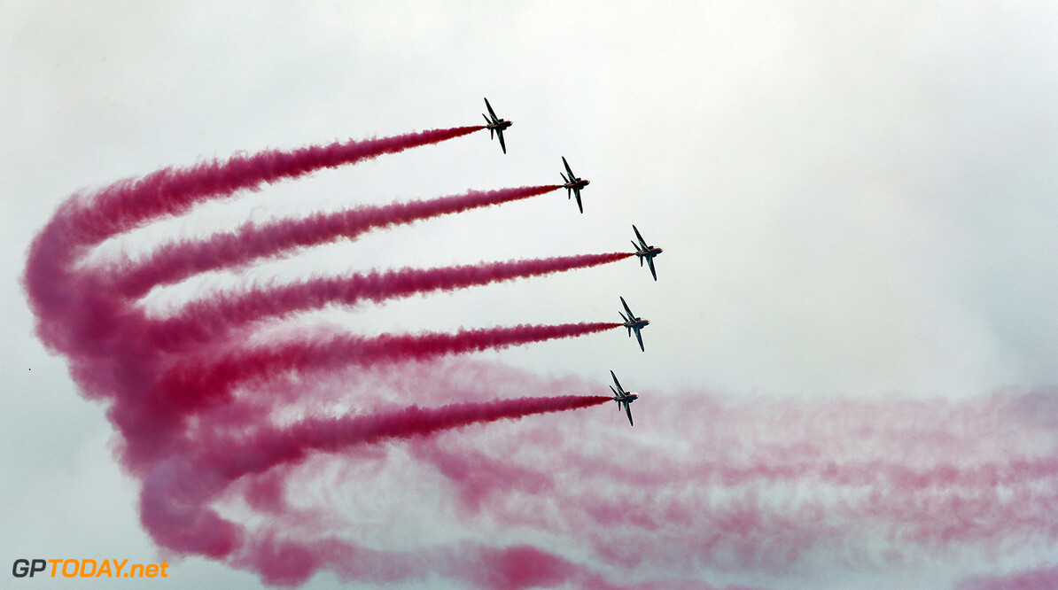 Britain F1 GP Auto Racing The Red Arrows, the Royal Air Force aerobatic team, perform above the circuit before the British Formula One Grand Prix at the Silverstone racetrack in Silverstone, England, Sunday, July 16, 2017. (AP Photo/Frank Augstein)  Frank Augstein Silverstone GBR  f1autoz17
