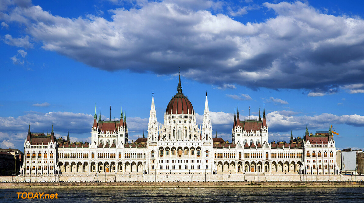 Hungaroring, Budapest, Hungary. Monday 5 June 2017. A view of the Hungarian Parliament Building. World Copyright: Zak Mauger/LAT Images ref: Digital Image _56I0555  Zak Mauger    f1 formula 1 formula one gp grand prix atmosphere preview
