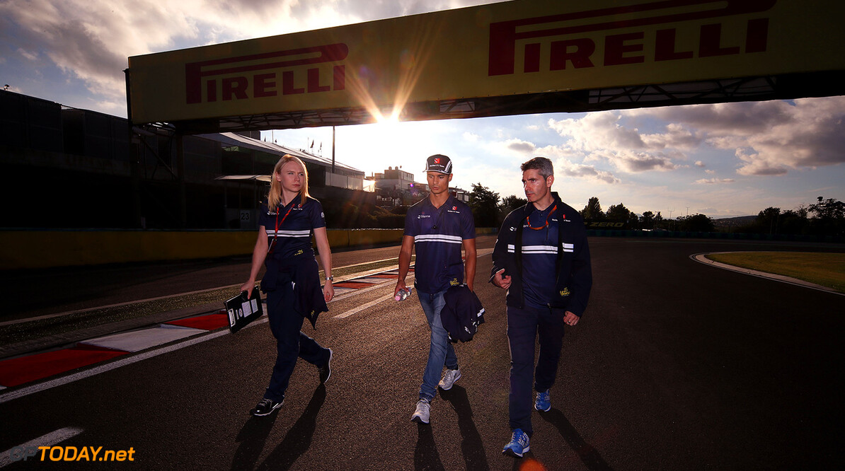 Hungarian GP Thursday 27/07/17 Pascal Wehrlein (D), Sauber F1 Team. Ruth Buscombe (GB), Sauber F1 Team engineer. Track walk. Hungaroring.  Hungarian GP Thursday 27/07/17 Jean-Francois Galeron Budapest Hungary  F1 Formula One 2017 Wehrlein Sauber